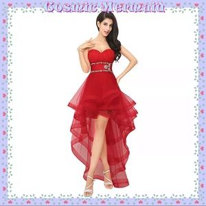 Dresses & Skirts - BURGUNDY🆕🧡Glam High Low Crystal Dress🧡